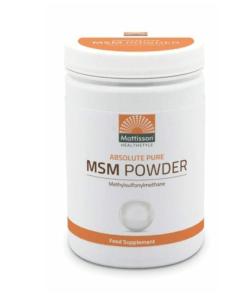 Absolute Pure MSM Poeder is een natuurlijke organische vorm van zwavel dat ook in sommige verse rauwe groenten en fruit voorkomt.