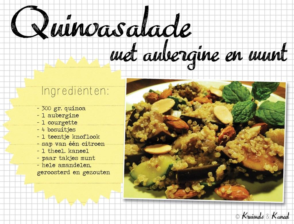Quinoasalade met aubergine en munt