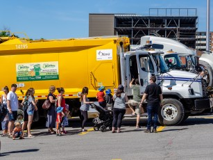 I've never seen a line-up to get into a garbage truck before - but the kids loved it!
