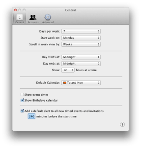 iCal Preferences