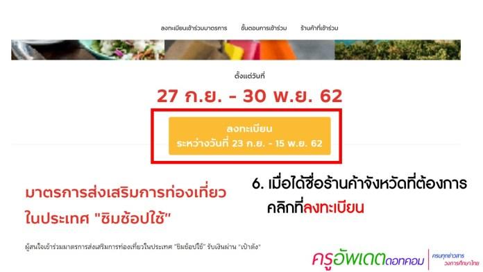 วิธีลงทะเบียน ชิมช้อปใช้รับสิทธิ์ 1,000 บาท ส่งเสริมการท่องเที่ยว ในประเทศ