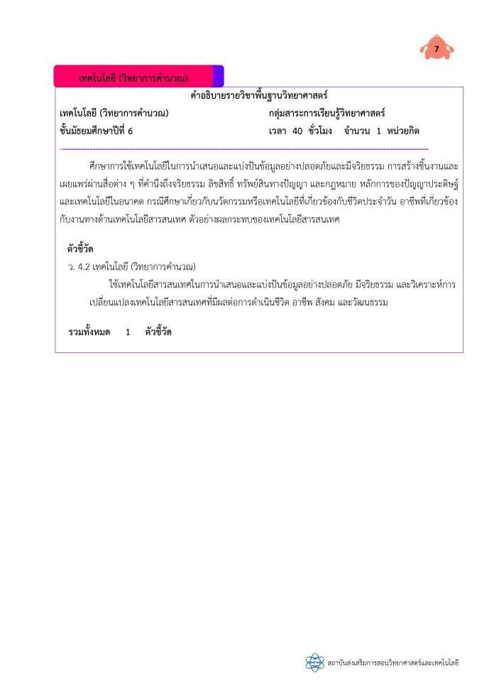 ตัวอย่างคำอธิบายรายวิชา วิทยาการคำนวณ ป.1-ม.6 จาก สสวท. ม1-ม.6