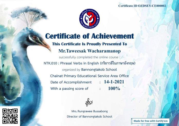 แบบทดสอบออนไลน์ การใช้ภาษาอังกฤษเพื่อการสื่อสาร จาก โรงเรียนบ้านหนองตะขบ สพป.ชัยนาท