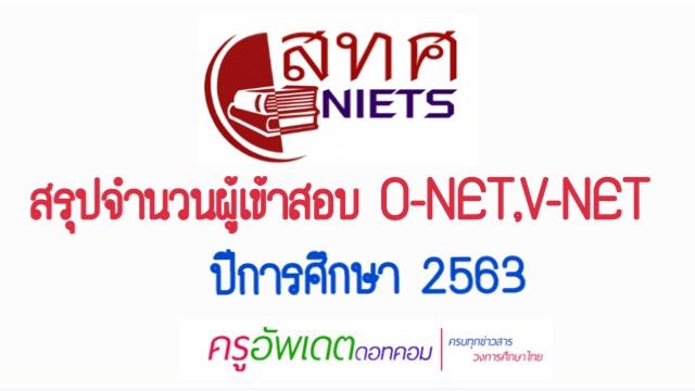 สทศ.สรุปจำนวนผู้เข้าสอบ O-NET ป.6 ,ม.3 และV-NETปวช.3 ปีการศึกษา 2563