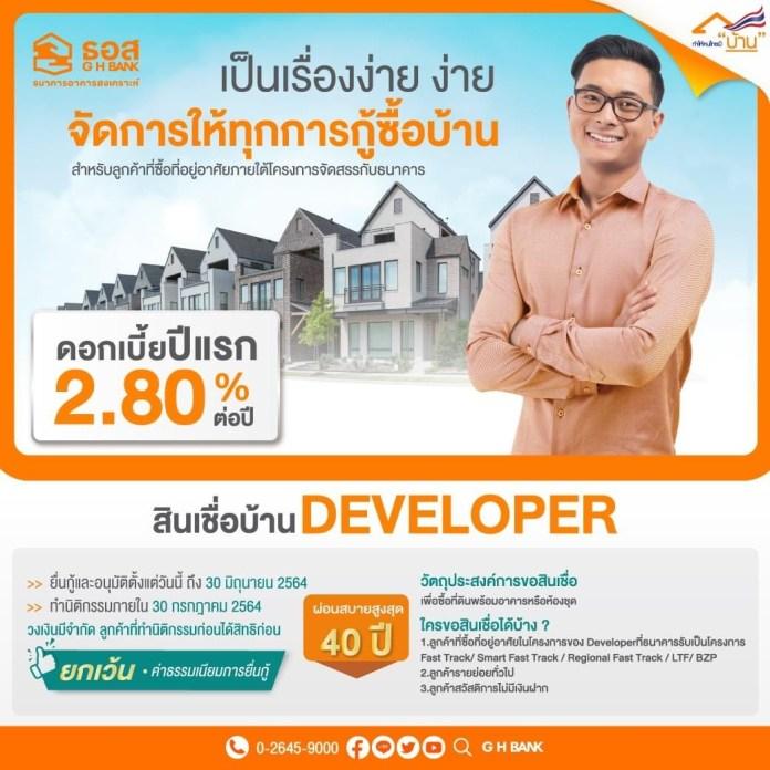 สินเชื่อบ้าน Developer ผ่อนเริ่มต้นล้านละ 3,500 บาท สำหรับผู้ที่ซื้อที่อยู่อาศัย จากโครงการจัดสรรฯที่เข้าร่วมกับธนาคาร