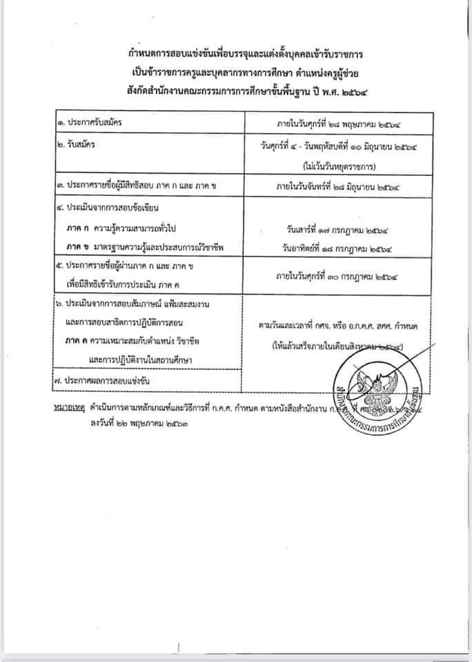 ประกาศรับสมัครสอบแข่งขัน ตำแหน่งครูผู้ช่วย รอบทั่วไป สังกัด สพฐ. ประจำปี พ.ศ. 2564
