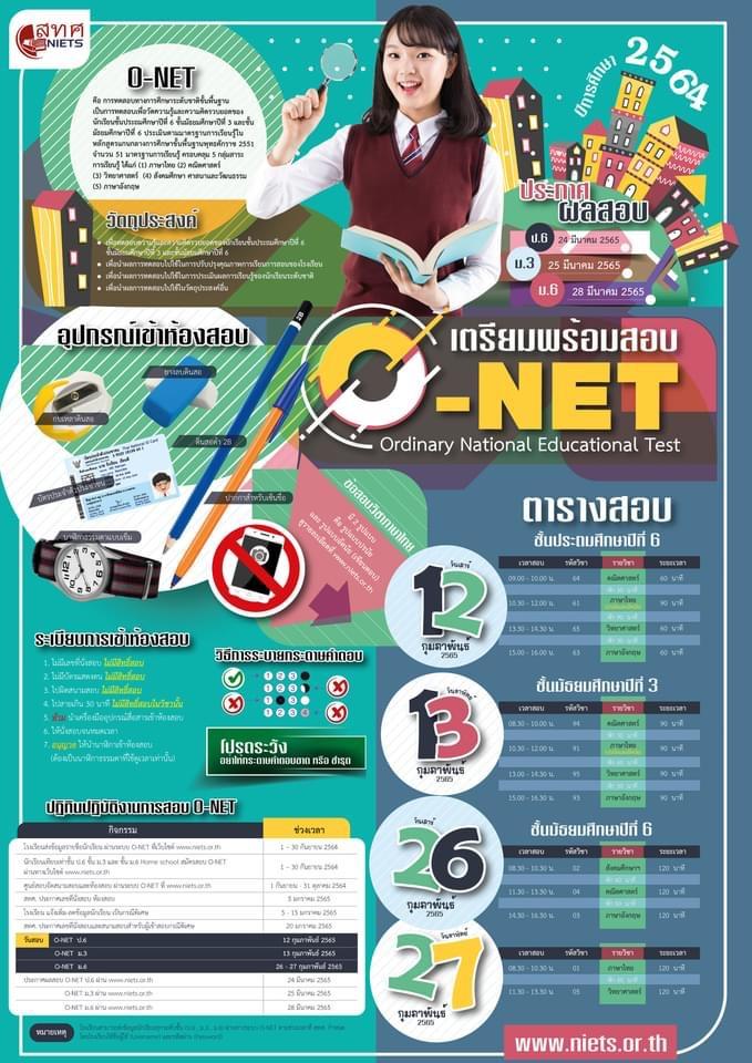 กำหนดการ สอบโอเน็ต O-NET ปีการศึกษา 2564 โดย สทศ.