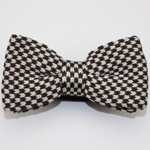 Kruwear knitted Herringbone Knit Black White Bow Tie Bowtie