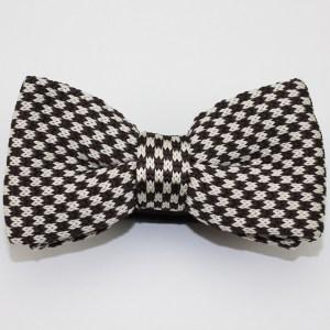 Kruwear knitted Herringbone Knit Black White Bow Tie Bowtie