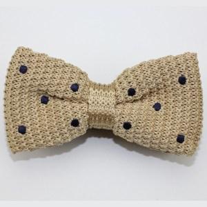 Kruwear tan polka dots bowtie bow tie