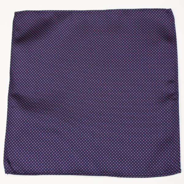 100% silk blue pocket square with red dots