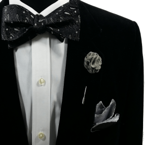 Bow Tie + Pocket Square + Lapel Pin
