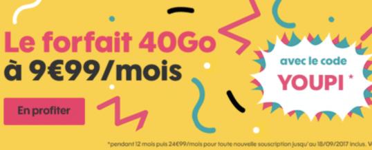 Le Forfait SOSH 40Go est à 9€99/mois pendant 1 an au lieu de 24€99/mois. Profitez-en avant le 18 septembre!