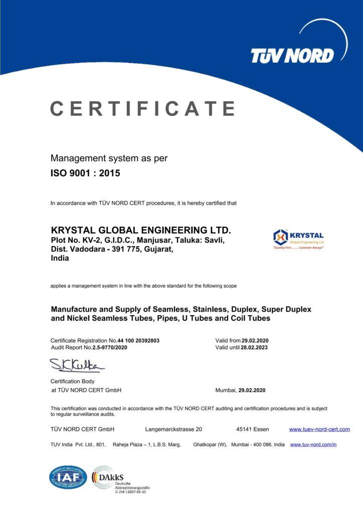 ISO 9001 2015 KRYSTAL