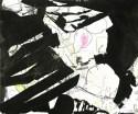 """Zeichnung von Wolfgang Kschwendt: """"upledger - bellowed"""", 60 x 50 cm, Mixed Media auf KArton"""
