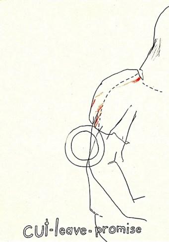 "Wolfgang Kschwendt, drawing, ""cut-leave-promise"""