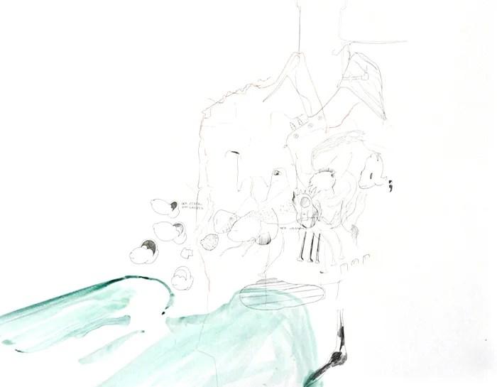 "Wolfgang Kschwendt - ""Der Weggang"" - Pencil on cardboard, 50 x 40 cm, 2015"