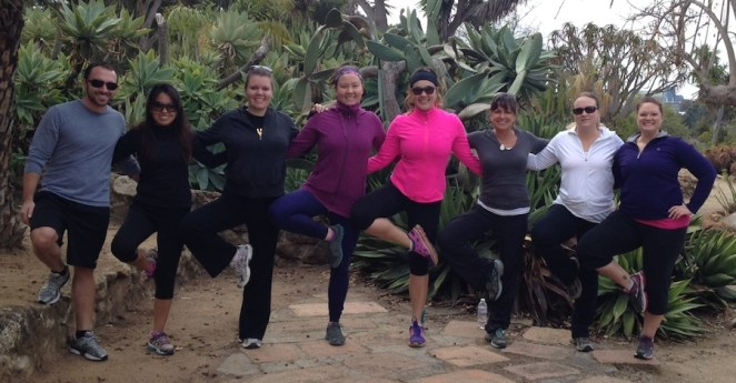 Hiking yoga class at Balboa Park in winter 2013