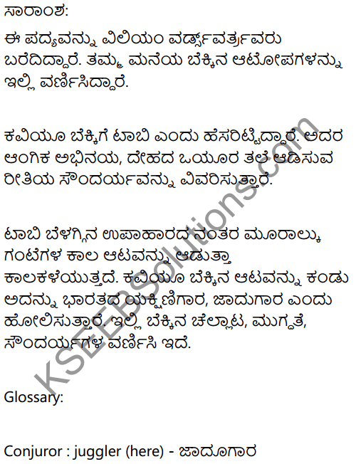 The Kitten at Play Summary In Kannada 1