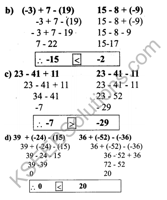 KSEEB Solutions for Class 7 Maths Chapter 1 Integers Ex 1.1 10