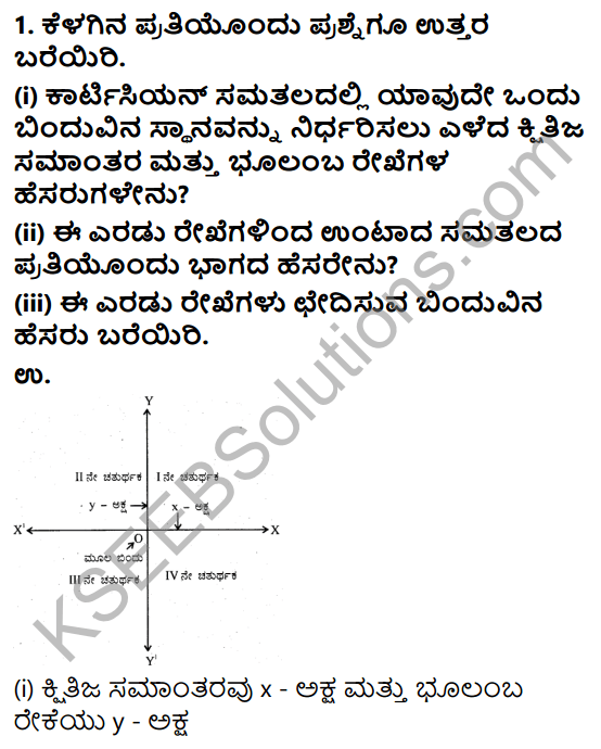 KSEEB Solutions for Class 9 Maths Chapter 9 Coordinate Geometry Ex 9.2 in Kannada 1