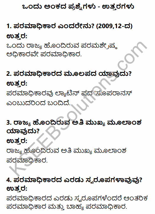 1st PUC Political Science Question Bank Chapter 3 Basic Political Concepts in Kannada 1