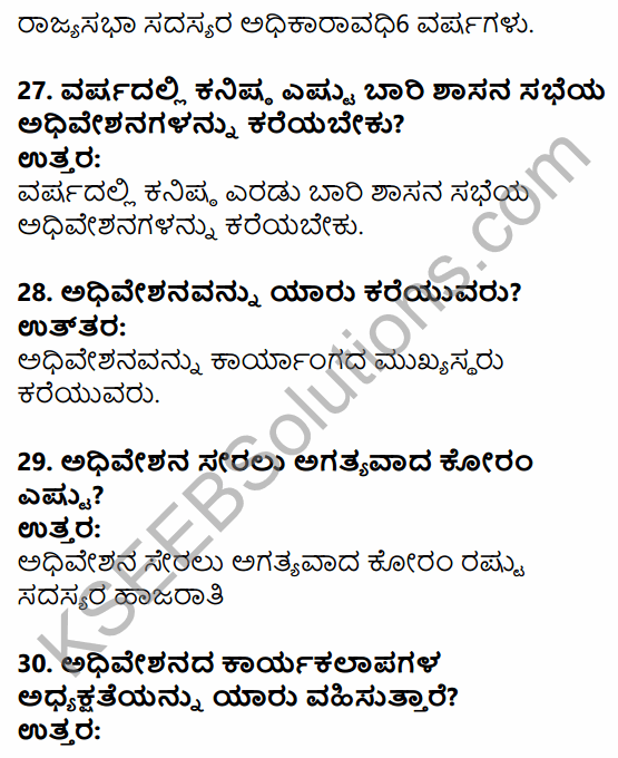 1st PUC Political Science Question Bank Chapter 6 Legislature in Kannada 7