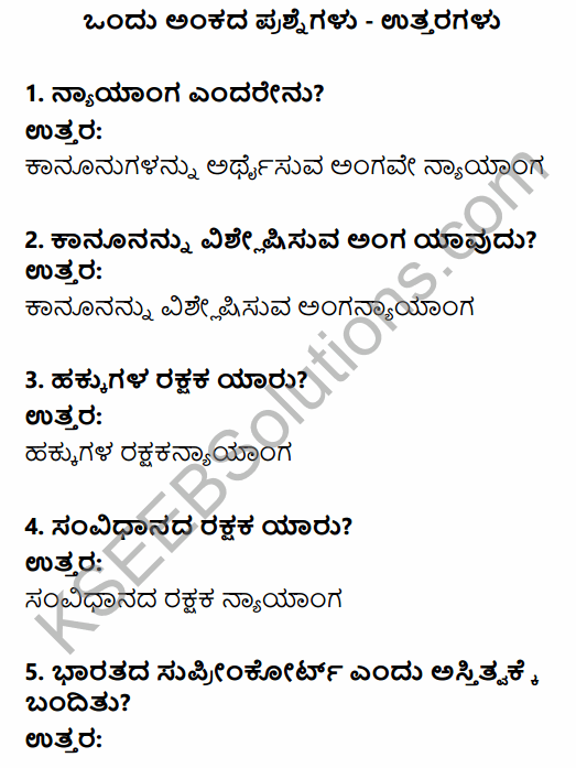 1st PUC Political Science Question Bank Chapter 8 Judiciary in Kannada 1