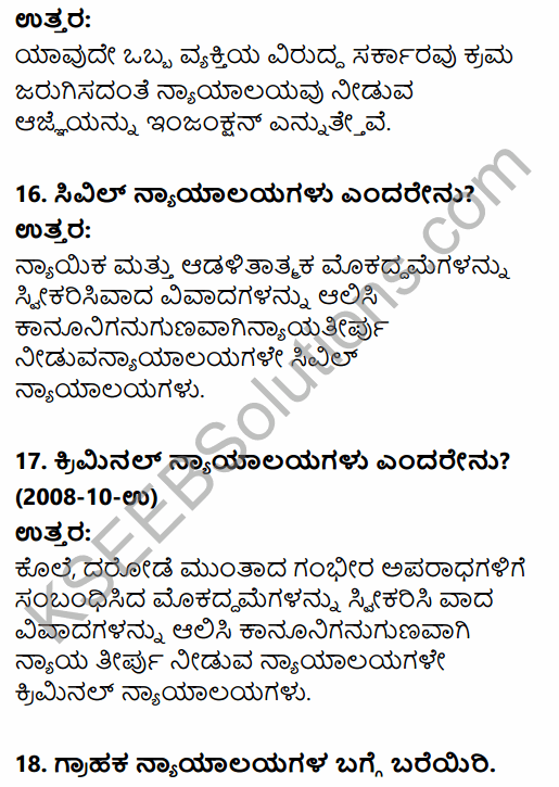 1st PUC Political Science Question Bank Chapter 8 Judiciary in Kannada 16