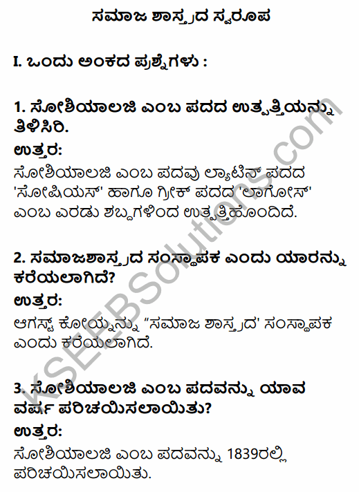 1st PUC Sociology Question Bank Chapter 1 Nature of Sociology in Kannada 1