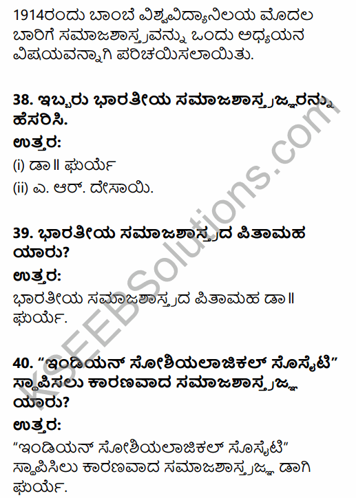 1st PUC Sociology Question Bank Chapter 1 Nature of Sociology in Kannada 12