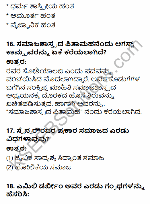 1st PUC Sociology Question Bank Chapter 1 Nature of Sociology in Kannada 22