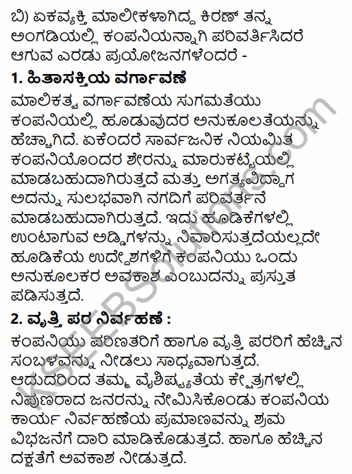 1st PUC Business Studies Question Bank Chapter 2 Forms of Business Organisation in Kannada 48