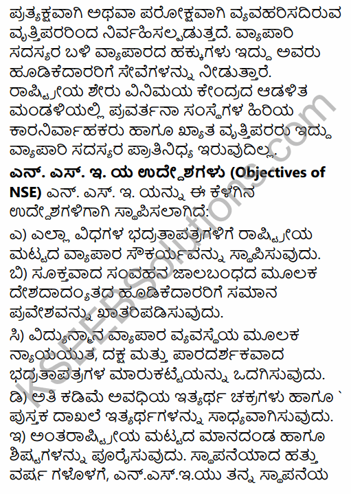2nd PUC Business Studies Question Bank Chapter 10 Financial Market in Kannada 16