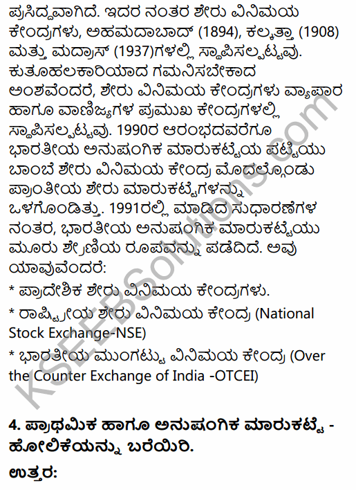 2nd PUC Business Studies Question Bank Chapter 10 Financial Market in Kannada 45