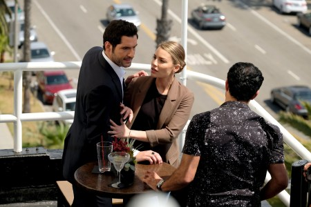 "LUCIFER: L-R: Tom Ellis, Lauren German and guest star Pej Vahdat in the ""They???re Back, Aren???t They?"" Season Three premiere episode of LUCIFER airing Monday, Oct. 2 (8:00-9:00 PM ET/PT) on FOX. ©2017 Fox Broadcasting Co. Cr: FOX."