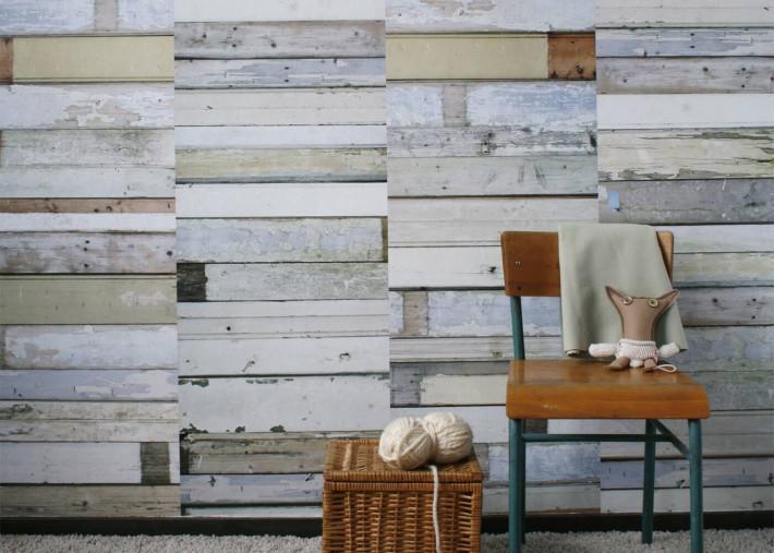 papier peint effet planches de bois patinees blanc gris par studio ditte