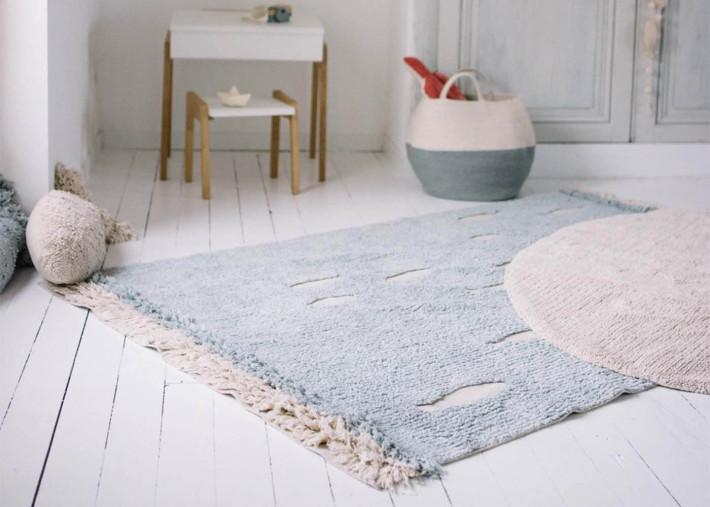 tapis enfant motif banc de poisson bleu ocean shore lorena canals