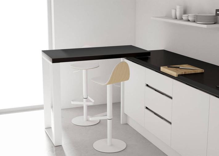 table bar mobile pivotante a 90 en metal et bois ou ceramique 90 par cancio