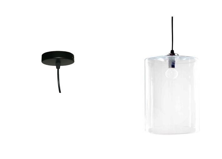 lustre blanc ou noir avec abat jour en verre transparent ou blanc cylindre angel des montagnes