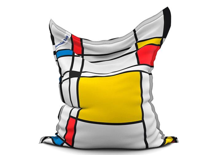 pouf geant motif graphique rouge jaune bleu noir the printed bag mondrian square jumbo bag