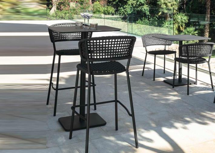 table haute mange debout de qualite en aluminium et ceramique 70x70 moon alu par talenti