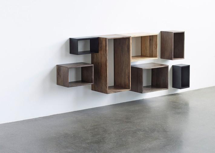 etagere murale en bois de manguier naturel ou teinte gris ou noir 4 tailles box system par mater