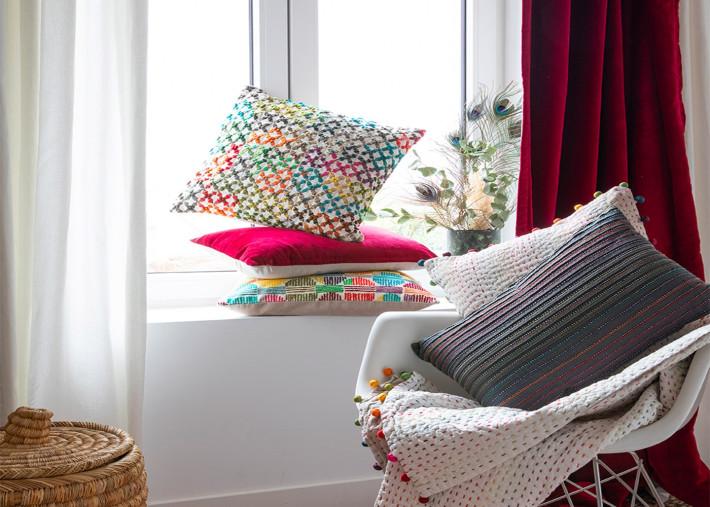 rideau pret a poser en velours de coton ficelle rouge jaune bleu ou gris fonce 140x280 elise par vivaraise