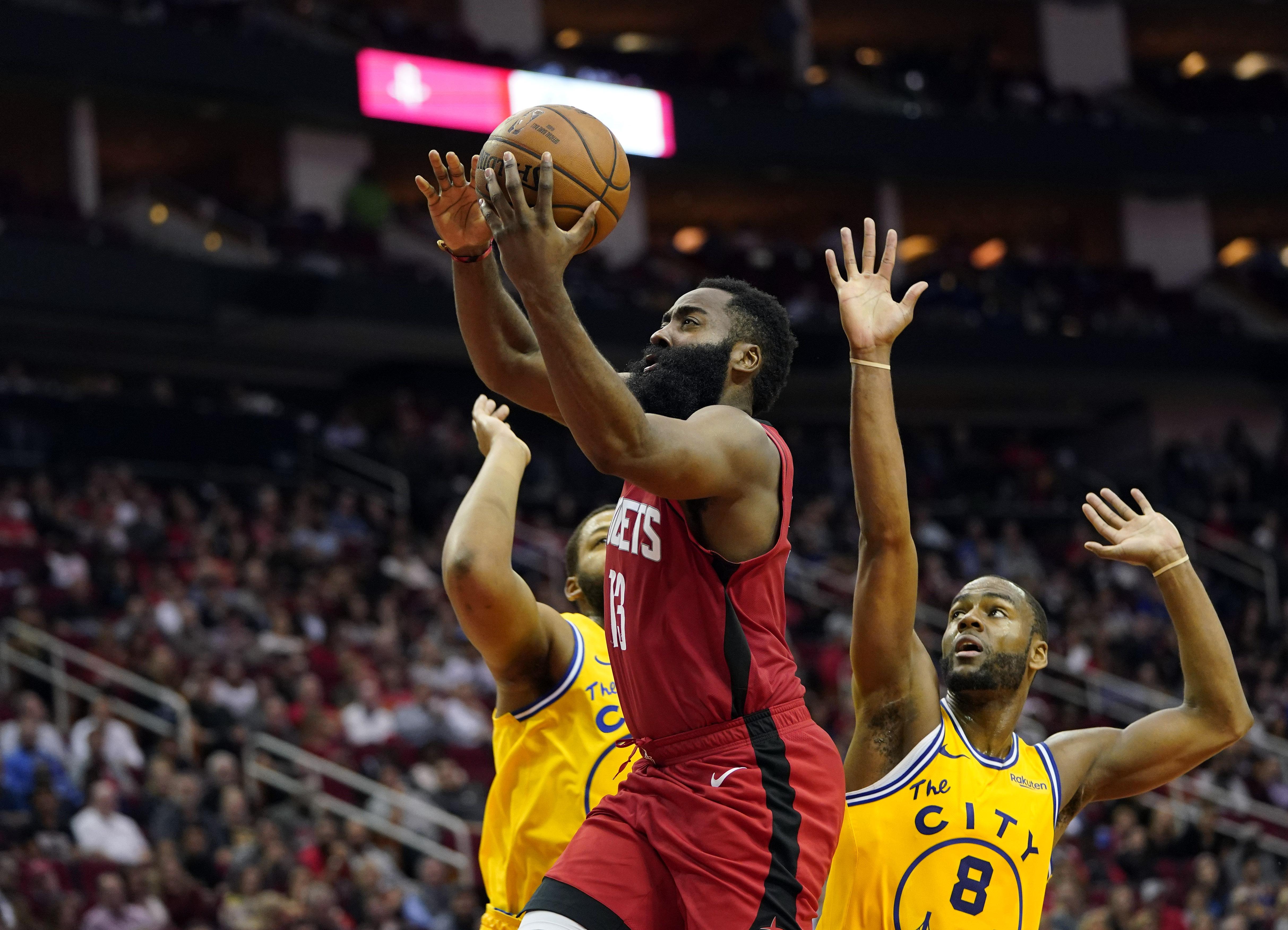 James Harden scores 36 points, Rockets rout Warriors 129-112