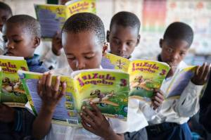 Kagiso Shanduka Trust (KST) South African school children reading books
