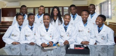 Learners from Matlwangtlwang Secondary School in their newly built Science Laboratory