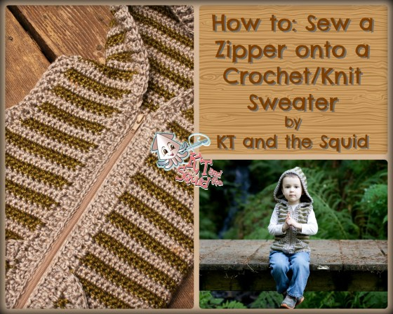 How to Sew a separating zipper onto a crochet/knit sweater free tutorial