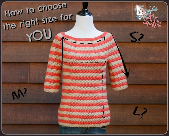chrocheting/knitting a sweater. how to choose the right size for YOU by KT and the Squid