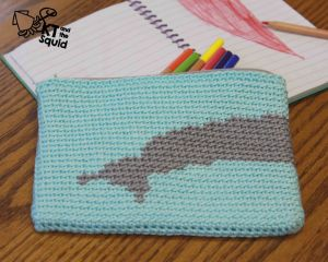 Dolphin Pencil Case Free Crochet Pattern by KT and the Squid